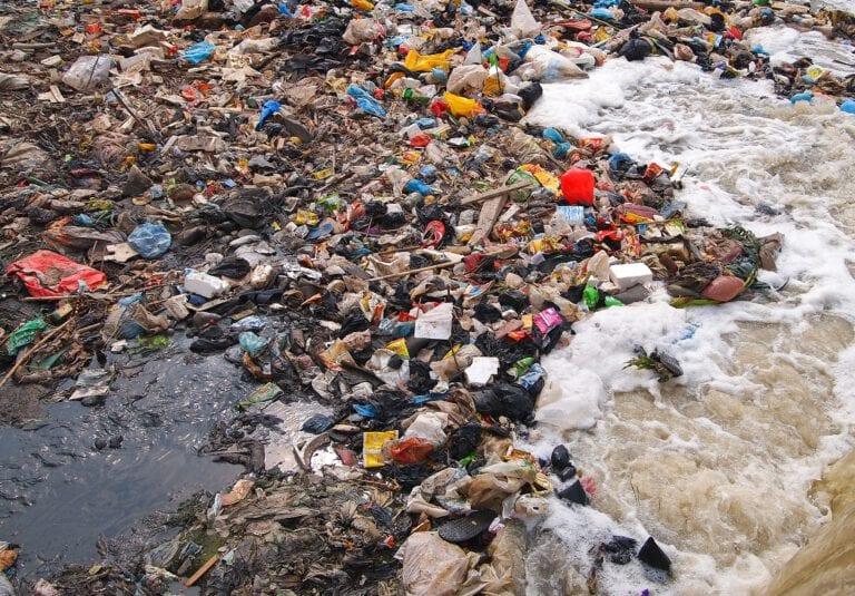 Trash on beach:
